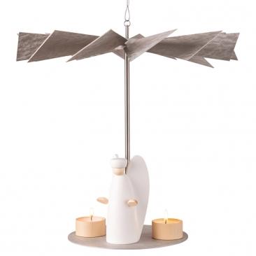 Hängepyramide LUMA Vintage inkl. 3 Teelichthaltern aus Ahornholz | Höhe 32 cm