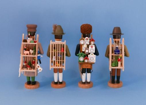 Spielzeughändler, Vogelhändler, Uhrenhändler und Glashändler (Rückenansicht)