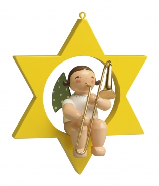Engel mit Zugposaune, im Stern