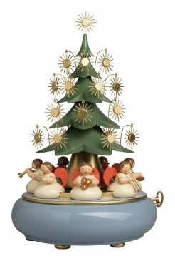 Spieldose mit unter dem Baum sitzenden Engeln, mit 36-stimmigen Musikwerk
