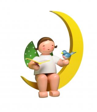 Engel mit Liederbuch und Vogel, im Mond, groß