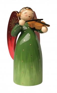Engel reich bemalt, grün, mit Violine